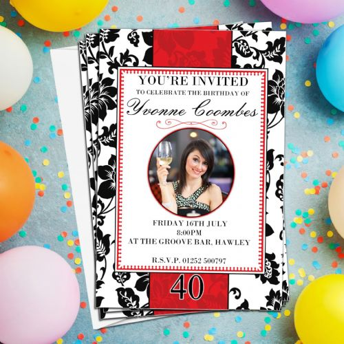 10 Personalised Red & Black Damask Birthday Party PHOTO Invitations N172